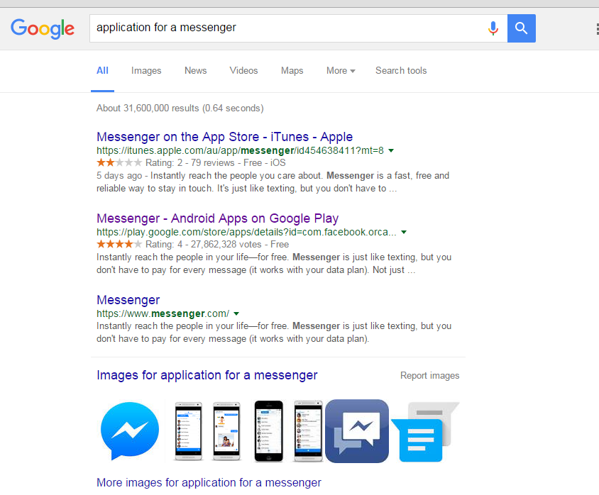 "Google Search result for ""Messenger"""